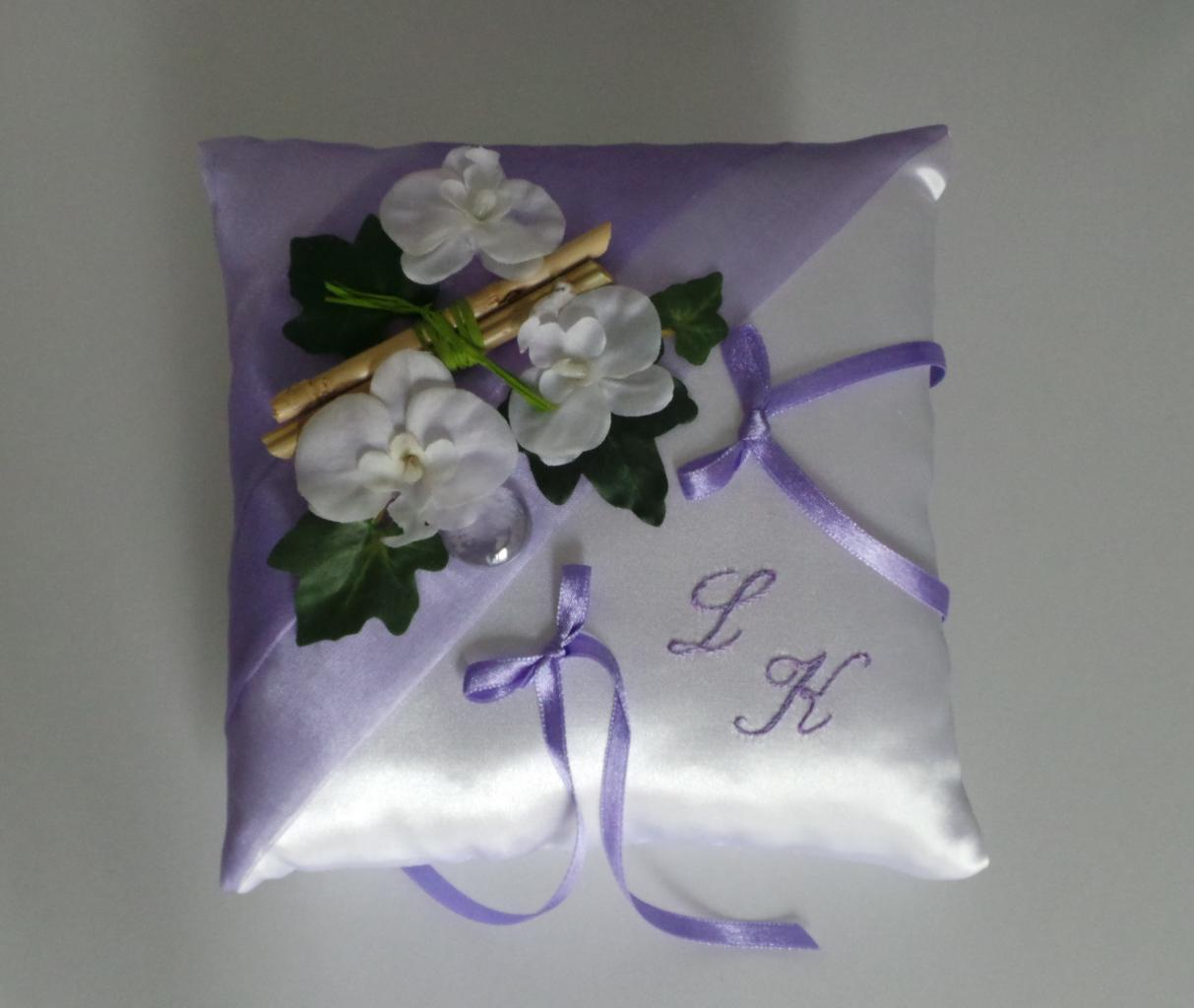 Coussin mariage parme blanc nature