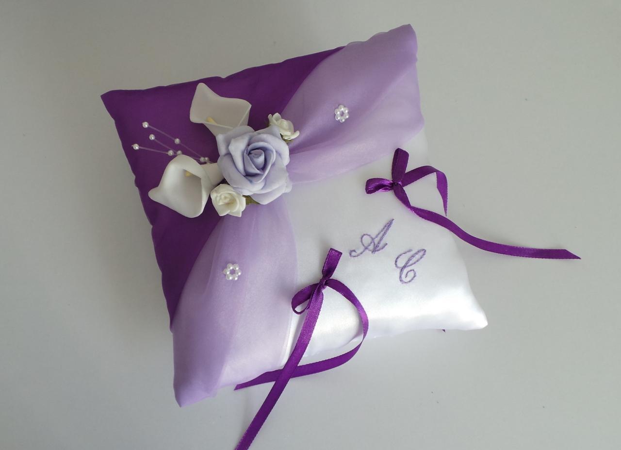 coussin mariage original, parme violet prune