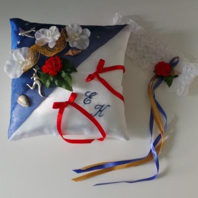 Coussin alliances mariage bleu roi rouge voyage Australie jarretière