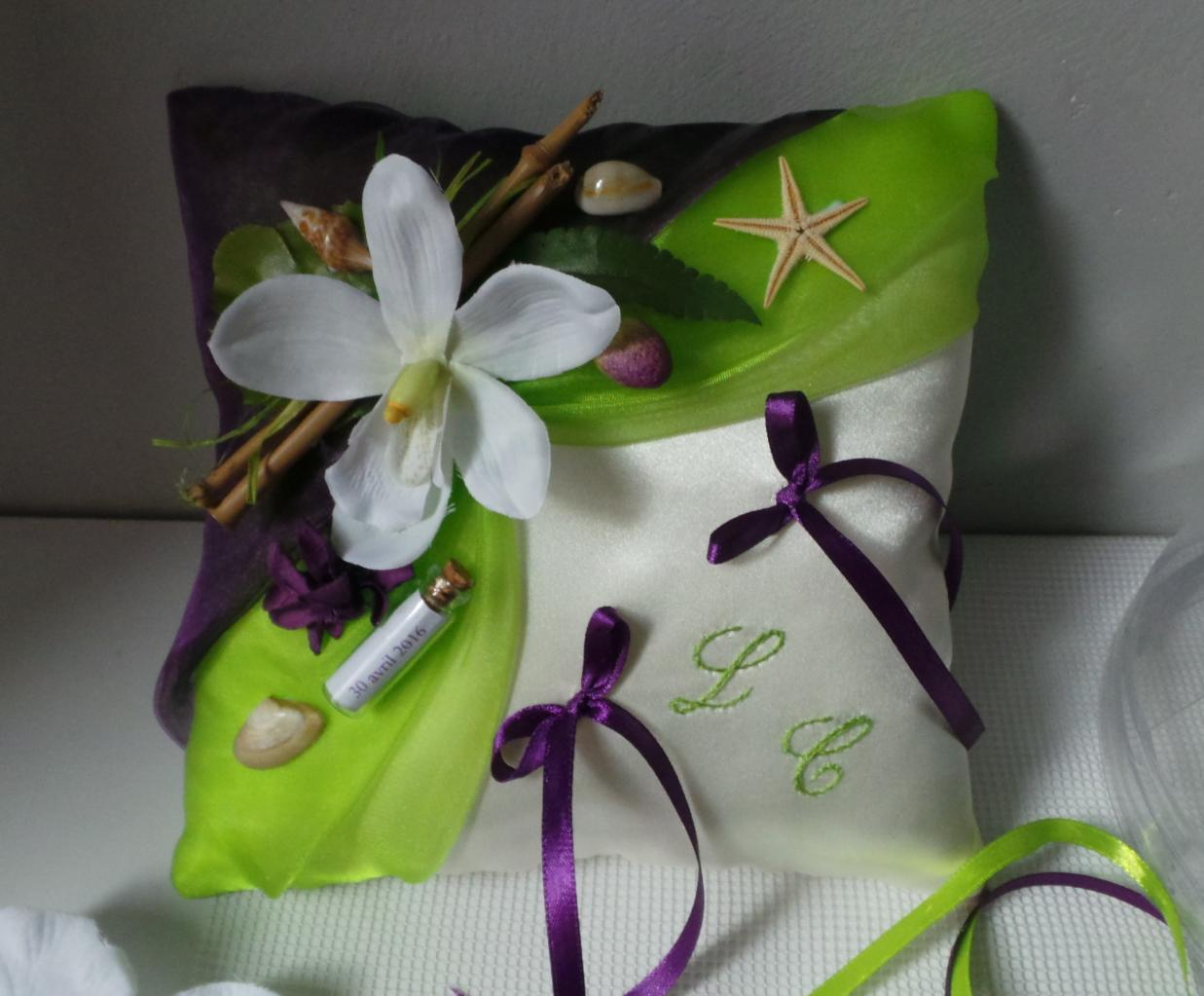 """coussin alliance mariage violet vert anis """"les îles"""""""