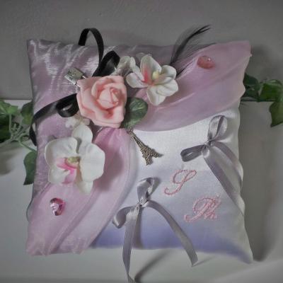 Coussin d'alliance rose et gris thème Paris