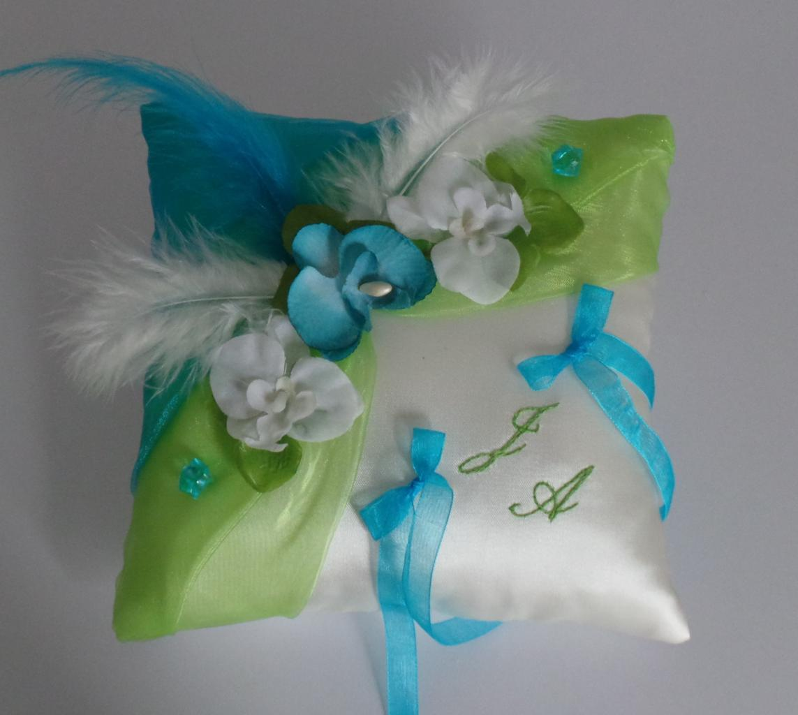 Coussin alliances vert anis et turquoise
