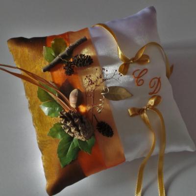 coussin alliance orange marron chatoyant, thème l'automne
