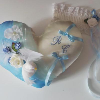 coussin alliance coeur bleu ciel colombes