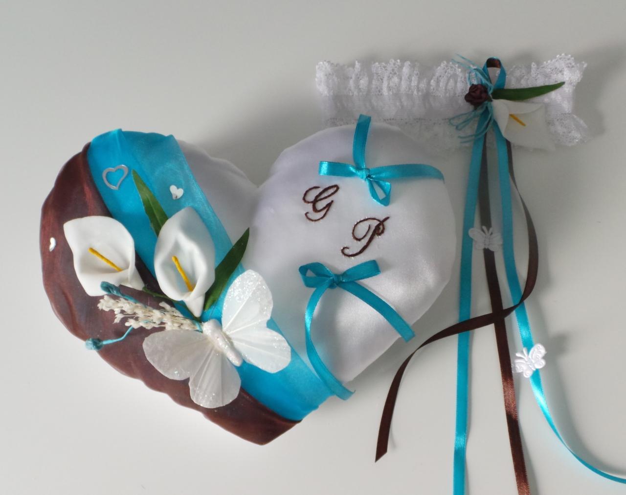 Coussin des alliances coeur chocolat turquoise