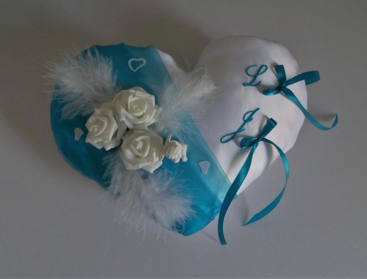 Coussin de mariage coeur turquoise