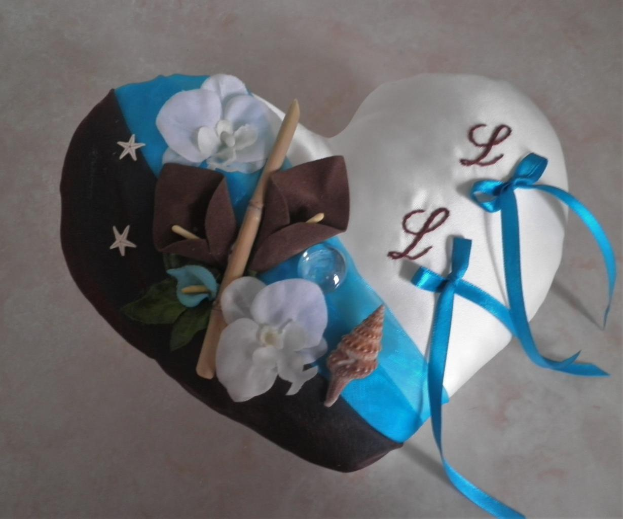 coussin alliance chocolat turquoise
