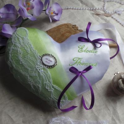 coussin alliances coeur anis dentelle et violet  (1)