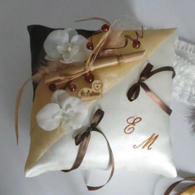 coussin alliances chocolat ivoire