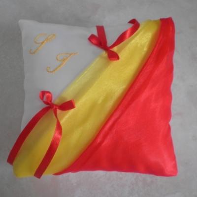 Coussin alliances rouge jaune (150)