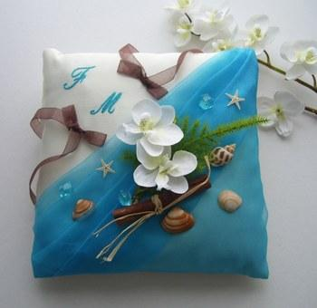 Coussin alliance exotique turquoise
