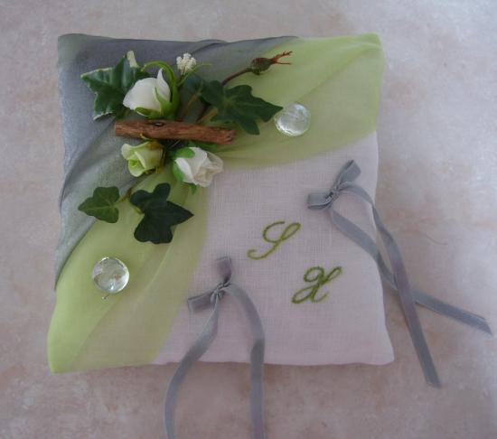 Coussin mariage, Nature anis et gris