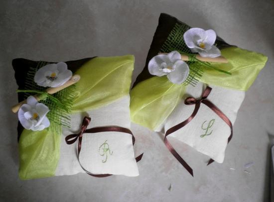 Duo coussin d'alliances personnalisés chocolat turquoise