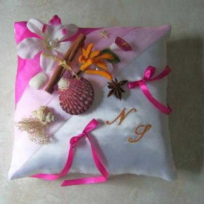 coussin alliances exotique, rose, fuchsia et orange