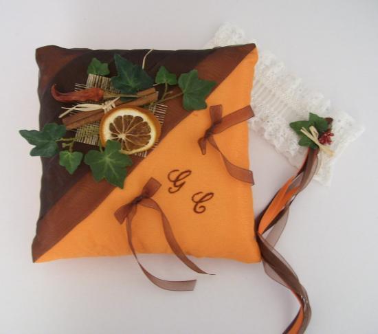 """coussin mariage """"épices"""" marron chocolat orange"""