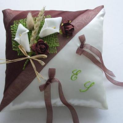coussin alliances chocolat ivoire, touche anis