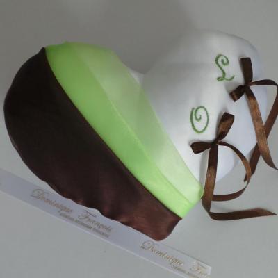 Coussin alliances coeur chocolat vert menthe