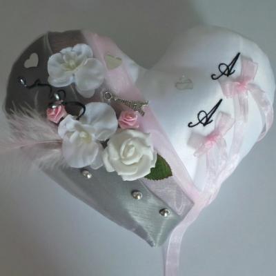 Coeur gris rose noir