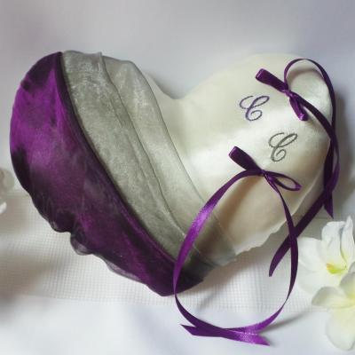 Coussin alliance coeur violet/prune/gris