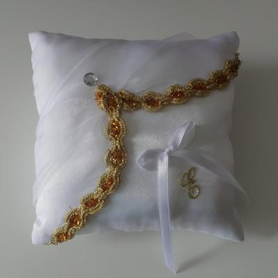 Coussin alliance oriental blanc or