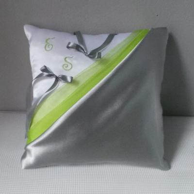Coussin mariage anis gris argent