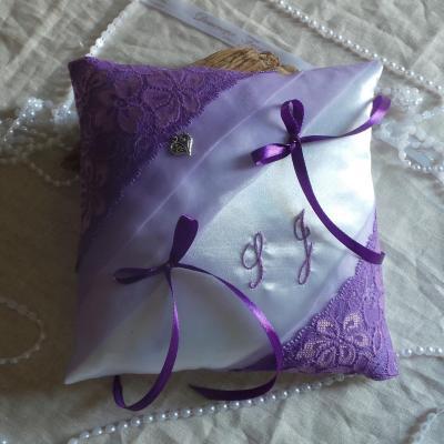 Coussin alliances chic parme violet 2