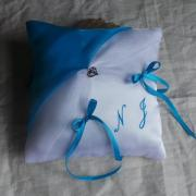 Coussin alliances chic turquoise personnalise 1
