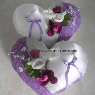 Coussin mariage coeur violet parme gris