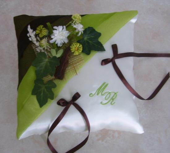 coussin alliances champêtre, anis marron chocolat