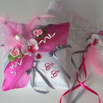 Coussin mariage rose 16