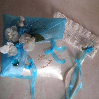 Coussin mariage turquoise personnalise