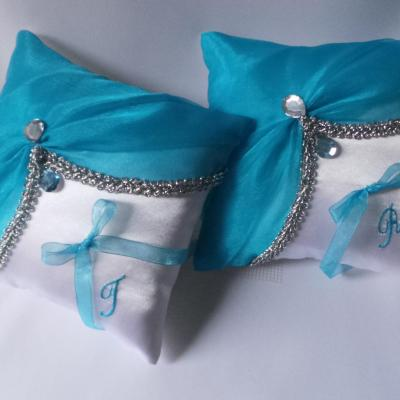 Duo coussin mariage oriental turquoise argent