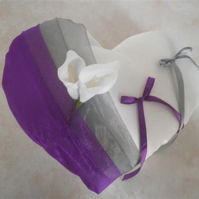 Coussin alliances coeur gris argent violet/prune