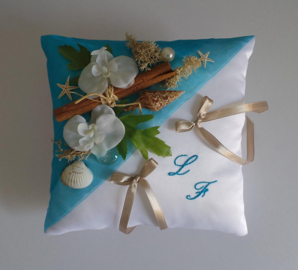 Coussin mariage exotique turquoise