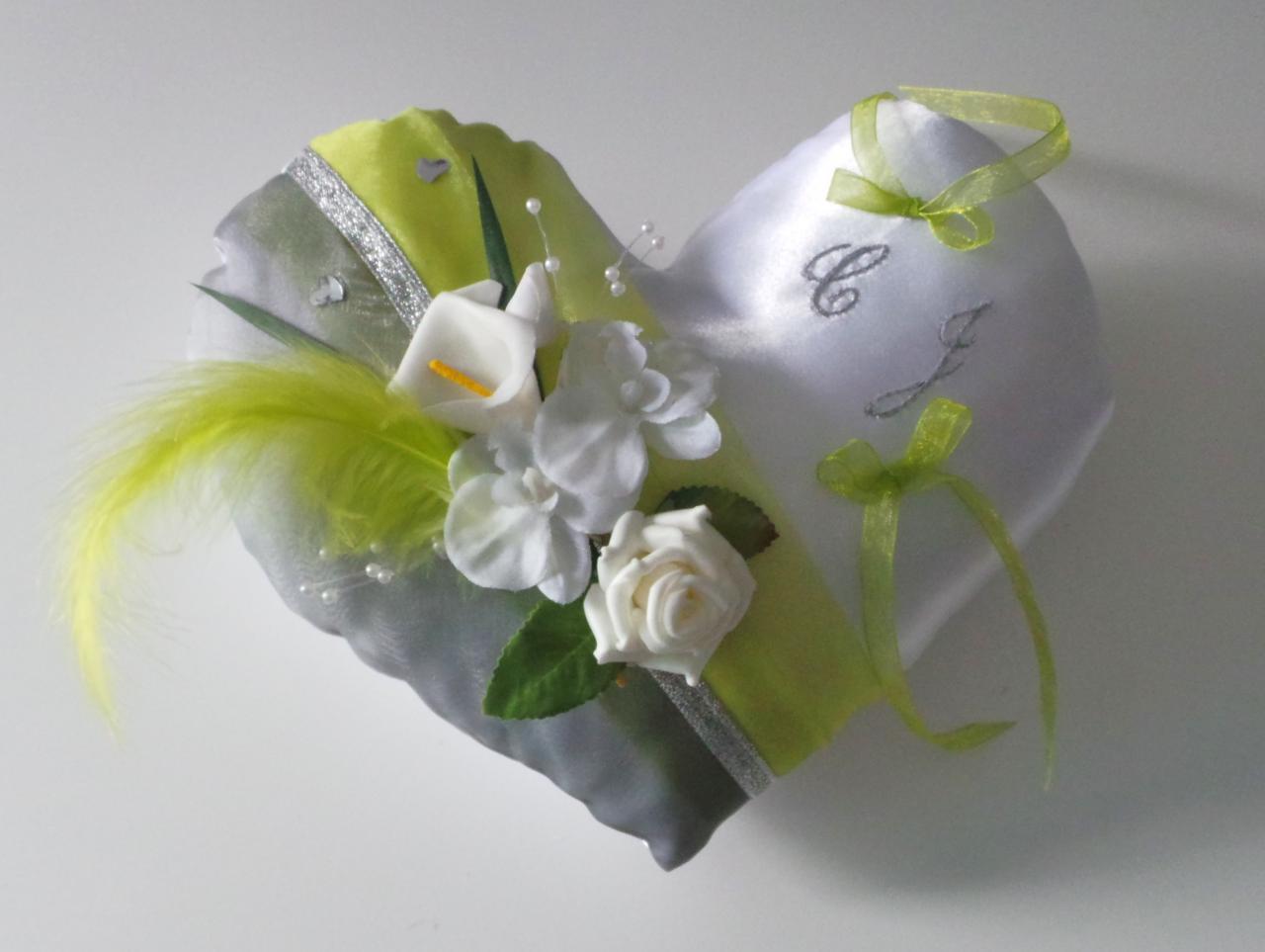 Coussin alliance mariage coeur anis gris argent romantique