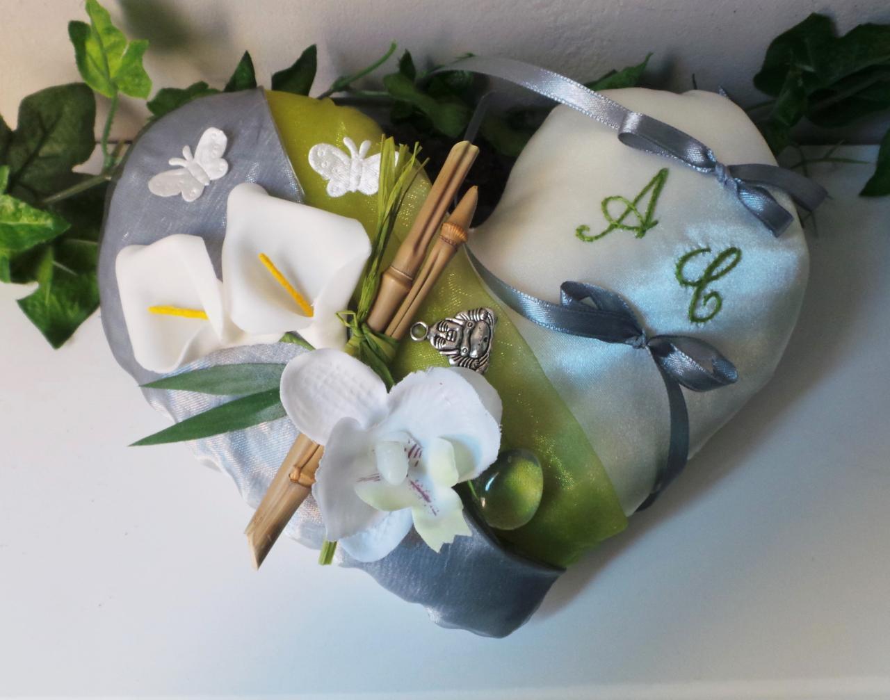 Coussin mariage thème zen anis et gris, bambou bouddha