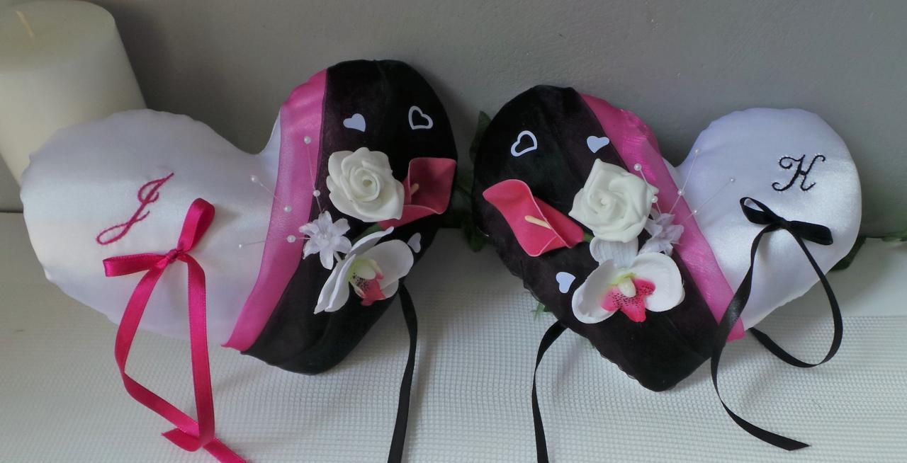Duo de coussin alliance coeur organza noir fuchsia blanc