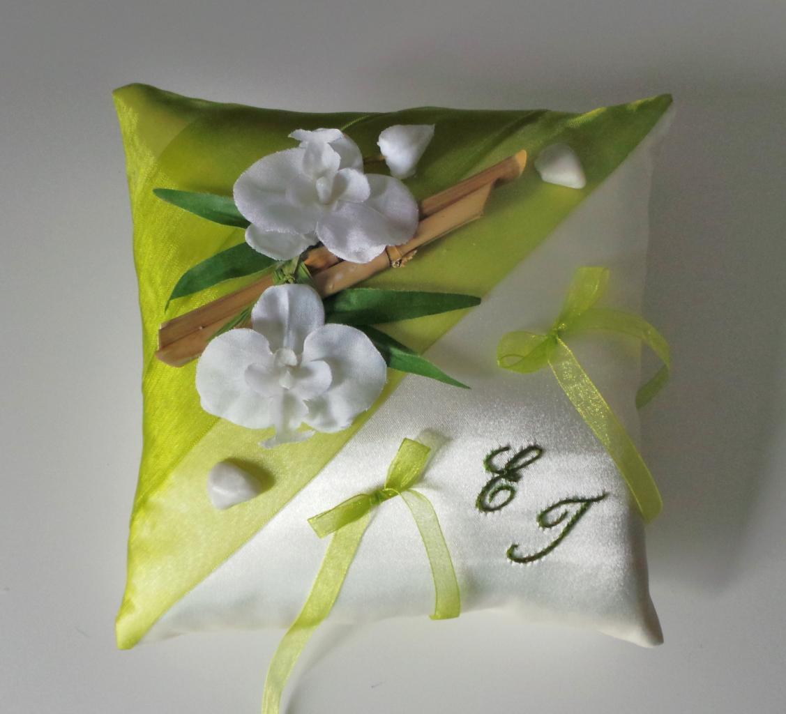 Coussin alliances zen, anis bambou et orchidées