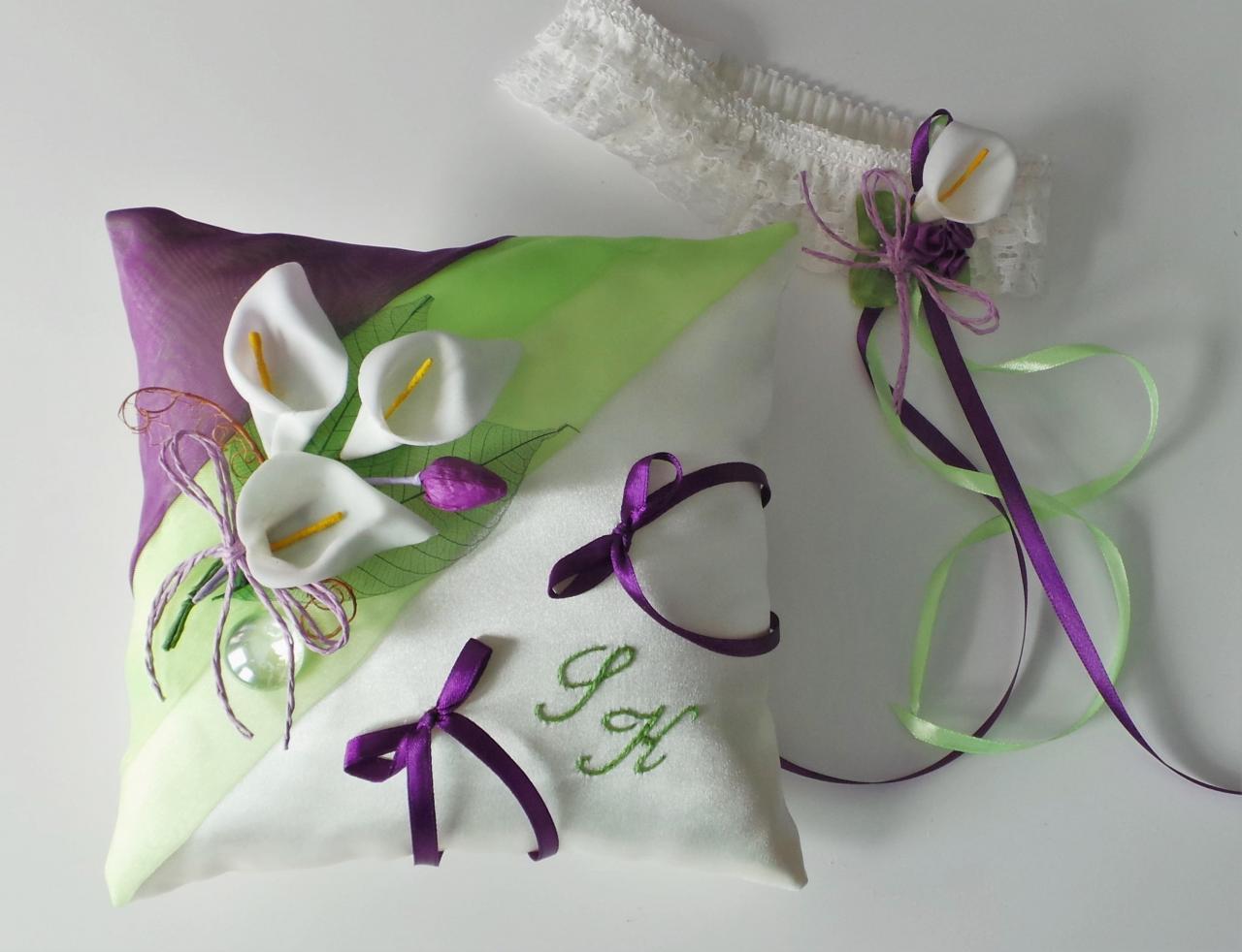 Coussin alliance champêtre mariage anis violet + jarretière