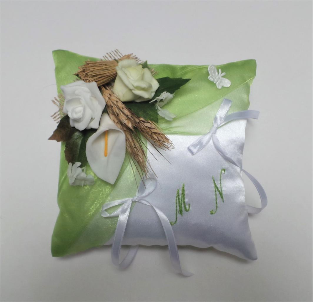 Coussin alliance vert et blanc nature champêtre campagne fait main