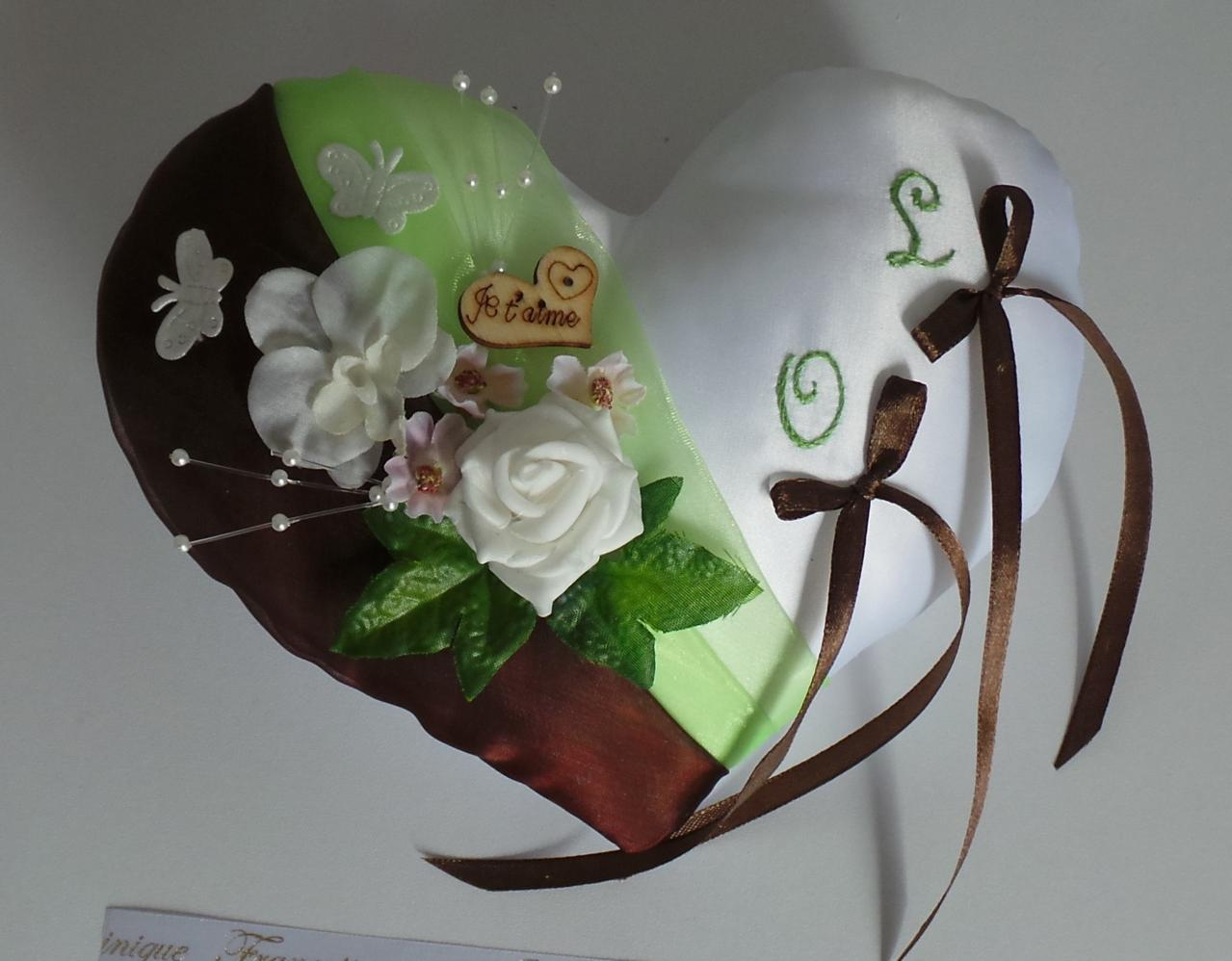 Coussin alliances champêtre chic chocolat anis