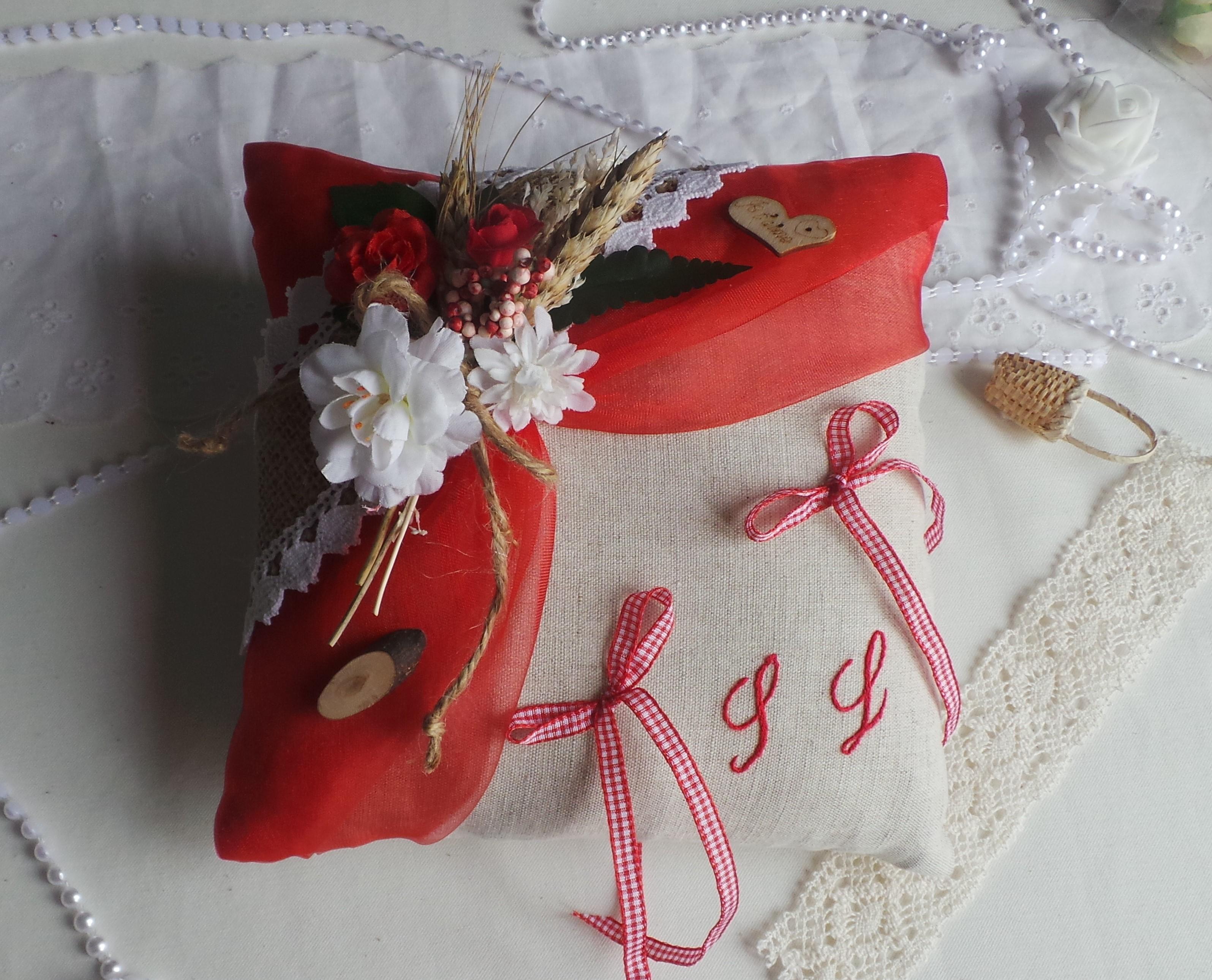 Coussin de mariage porte alliance jute lin champêtre