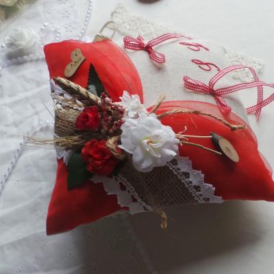 Coussin porte alliances de mariage jute lin champêtre (3)