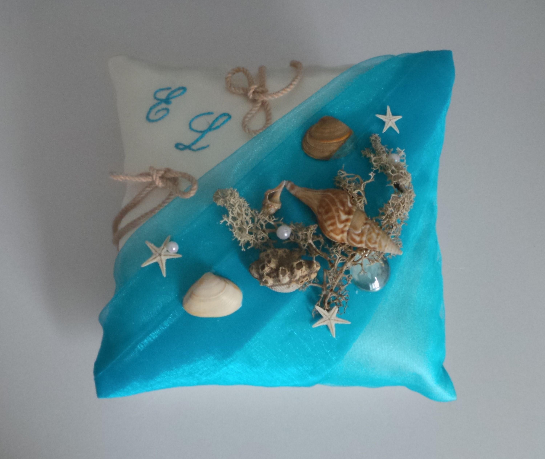 coussin  mariage bleu beige turquoise thème mer