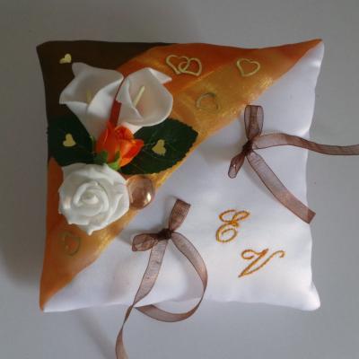 Coussin de mariage marron chocolat orange fait main