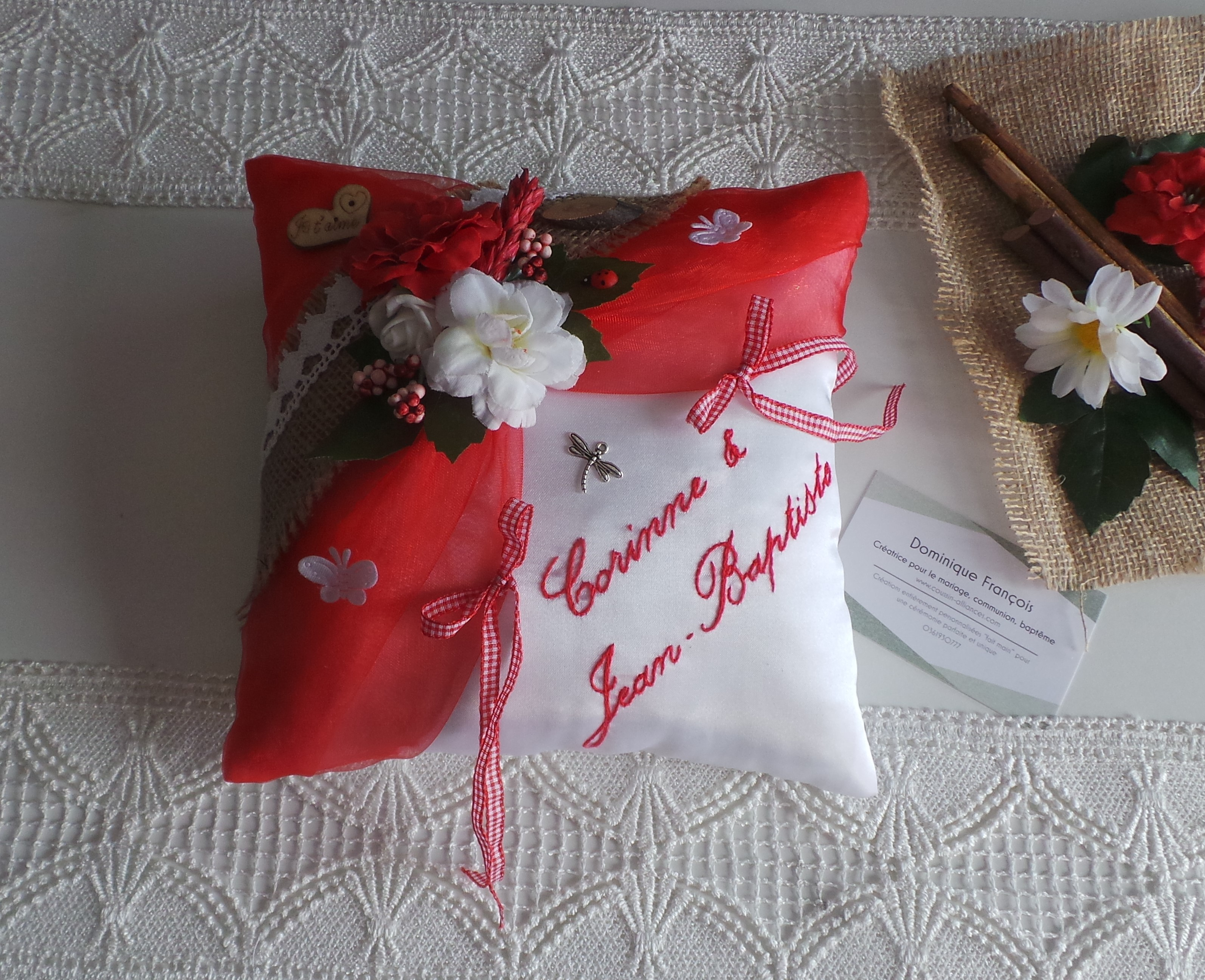 Coussin alliance personnalise champetre chic rouge vichy