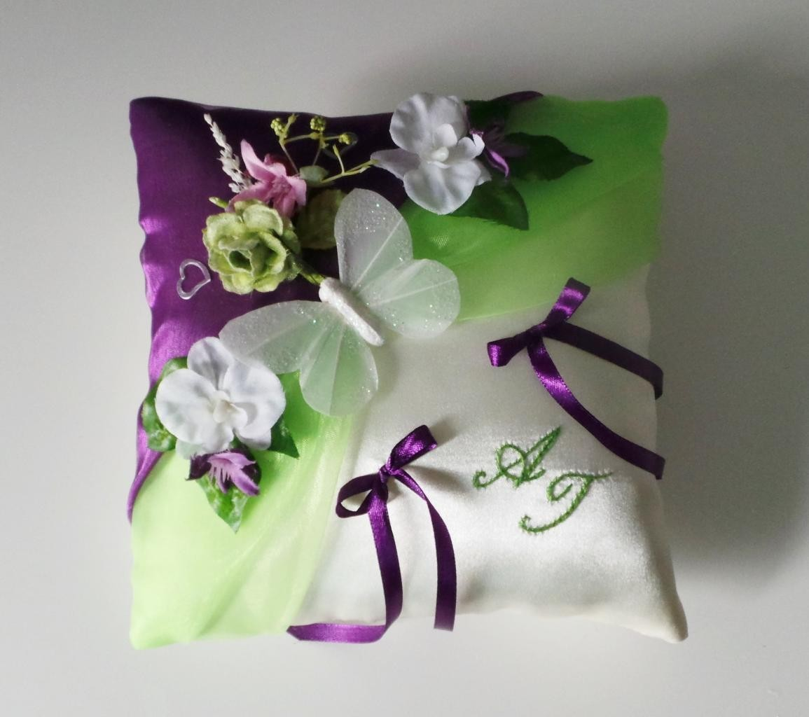Coussin alliance personnalise champetre nature vert violet