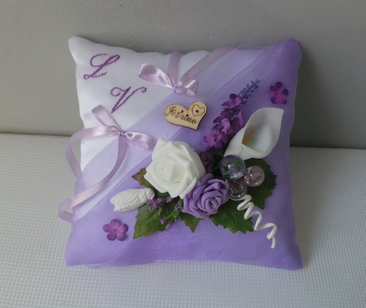 Coussin alliance personnalise parme violet champetre provence