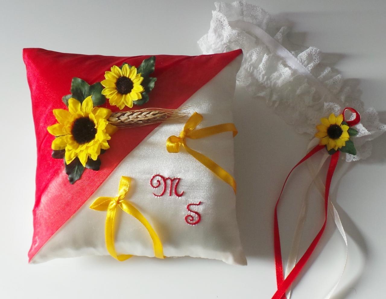 Coussin alliances champêtre rouge jaune tournesol personnalisé