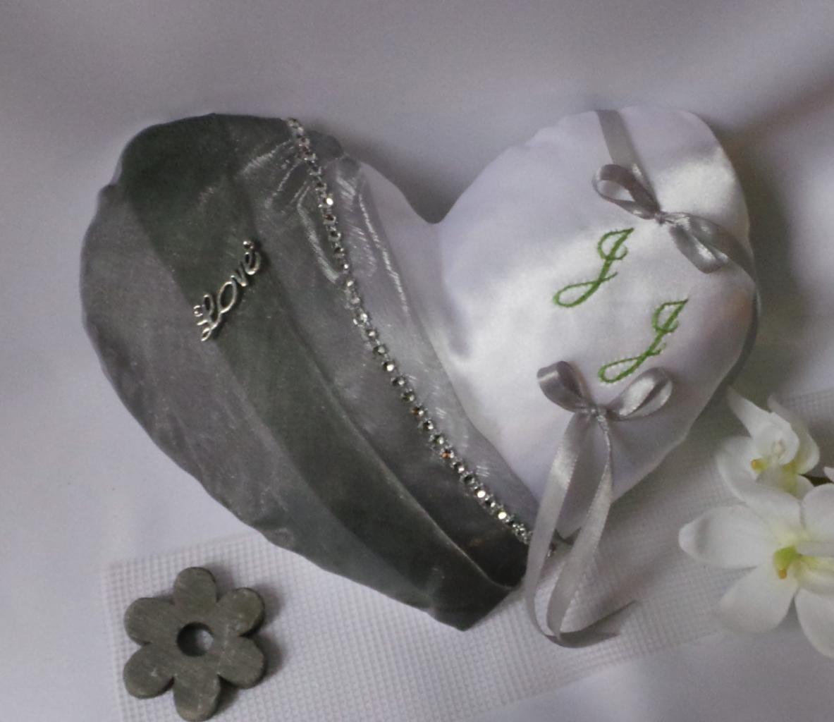 coussin alliances coeur personnalisé, blanc gris argent strass(57)